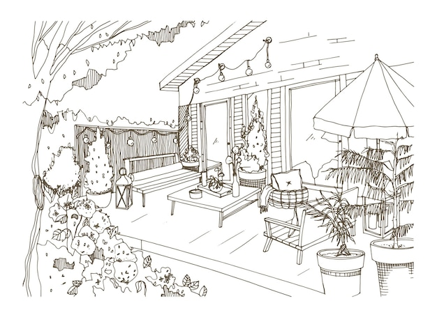 Freehand sketch of backyard patio furnished in scandic hygge style