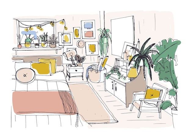 Freehand sketch of comfortable bedroom furnished in scandinavian style. room full of stylish and cozy furniture and home decorations. modern apartment interior design. hand drawn illustration