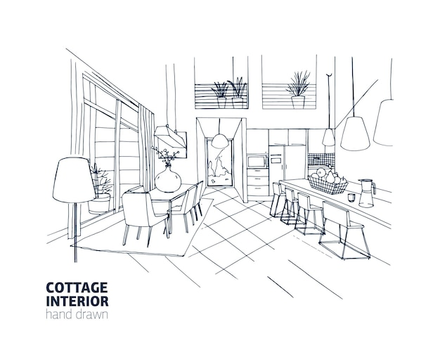 Freehand sketch of mansion or summer cottage interior with trendy comfy furniture and home decorations. kitchen and dining room hand drawn with black lines on white background. vector illustration