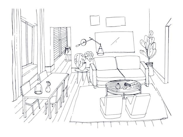 窓付きのリビングルーム、快適なソファ、ディナーテーブル、椅子、その他線で描かれた家具のフリーハンドスケッチ。居心地の良いスタイルで内装されたモダンな家の図面。図。