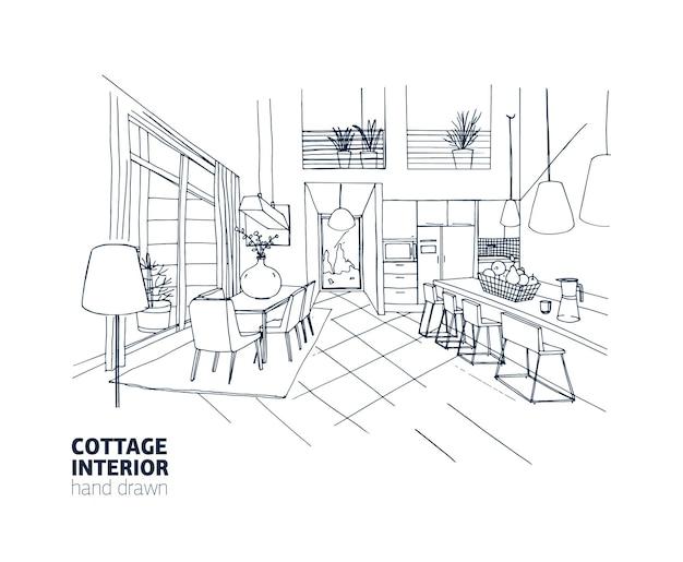 トレンディな快適な家具と家の装飾が施された邸宅または夏の別荘のインテリアのフリーハンドスケッチ。白い背景の上の黒い線で手描きのキッチンとダイニングルーム。ベクトルイラスト
