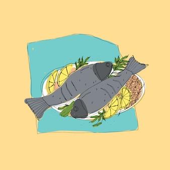 グリルまたはローストした魚のペアのフリーハンドスケッチは、プレートの上に横たわるご飯とレモンのスライスを添えてください。ヘルシーで食欲をそそるおいしいシーフードレストランの料理のカラフルな絵。図。