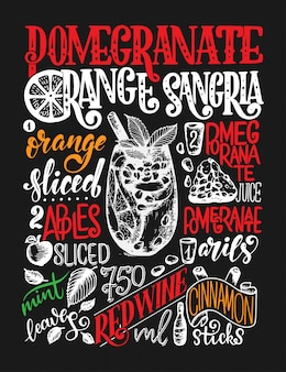 Freehand sketch style drawing of pomegranate orange sangria, cocktail glass, various fruits and hand written lettering.