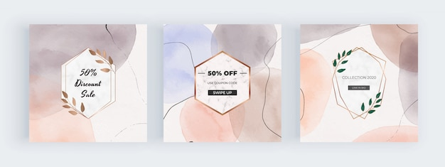 Freehand watercolor social media banners with geometric hand painted shapes with marble frames
