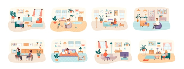 Freelance bundle of scenes with flat people characters situation