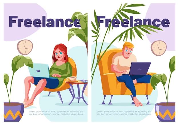 Внештатные мультипликационные плакаты расслабленные фрилансеры