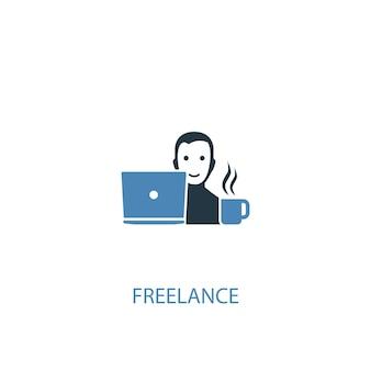 フリーランスのコンセプト2色のアイコン。シンプルな青い要素のイラスト。フリーランスのコンセプトシンボルデザイン。 webおよびモバイルui / uxに使用できます