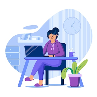 Freelance concept illustration with characters in flat design