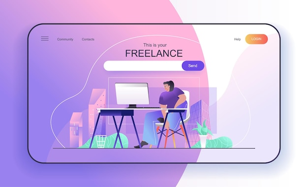 Freelance concept for landing page freelancer works at computer sitting in home office