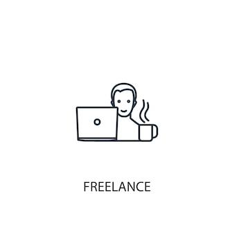フリーランスのコンセプトラインアイコン。シンプルな要素のイラスト。フリーランスのコンセプト概要シンボルデザイン。 webおよびモバイルui / uxに使用できます