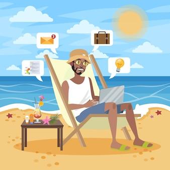 フリーランスのコンセプト。インターネットを介してラップトップコンピューターでリモートで作業するひげを持つ男。旅行中に働きます。オーシャンビーチで夏休み。図