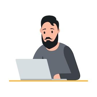 Freelance concept. man working on laptop