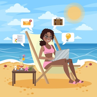 Freelance concept. woman working remotely on the laptop computer through the internet. working while travelling. summer vacation on the beach.   illustration