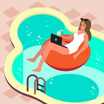 フリーランスのコンセプト。インターネットを介してラップトップコンピューターでリモートで働く女性。不可能マットレスのプールでリラックスしながら働きます。夏休み。フラットイラスト女性