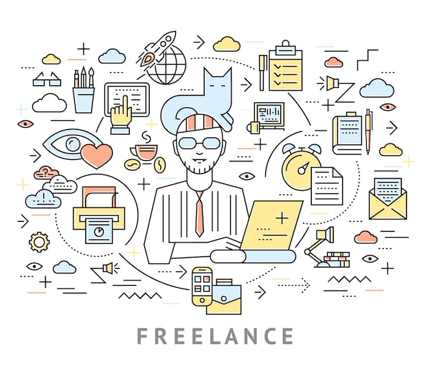 Freelance conceptual background