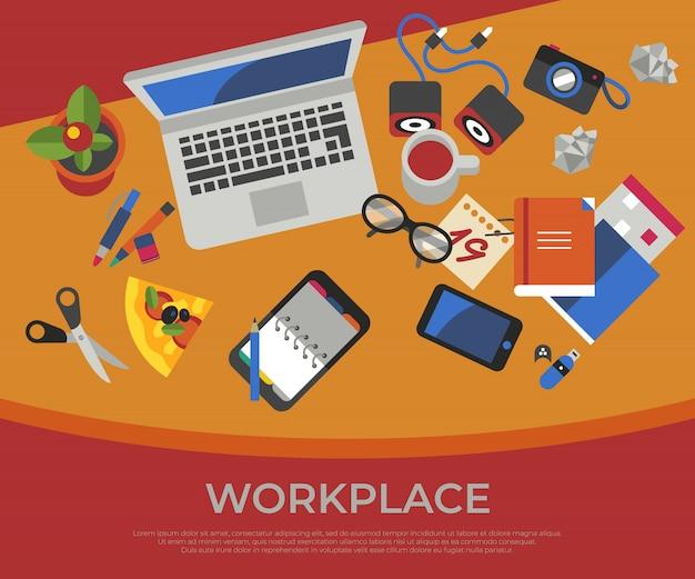 Freelance creative workplace icons set