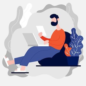 Ноутбук-фрилансер для разработчиков для онлайн-общения и виртуальных рабочих встреч оставайтесь дома