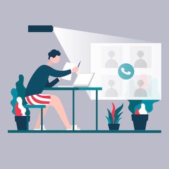 Разработчик-фрилансер разговаривает с коллегами по видеоконференции для онлайн и виртуальной рабочей встречи