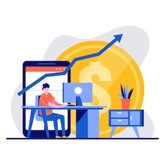Фриланс, финансовый успех, инвестиции, концепция торговли с крошечным характером. успешный фрилансер, работающий и зарабатывающий на компьютере в домашней квартире. метафора онлайн-дохода.