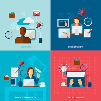 Freelance flat elements composition set