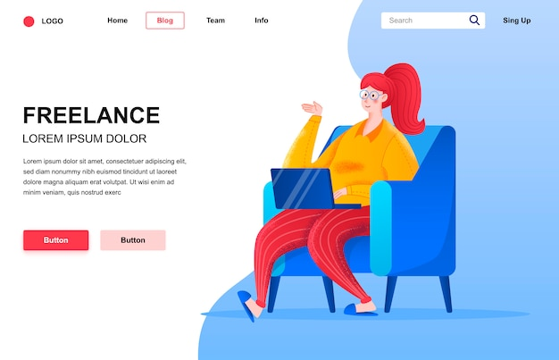 Freelance flat landing page composition.