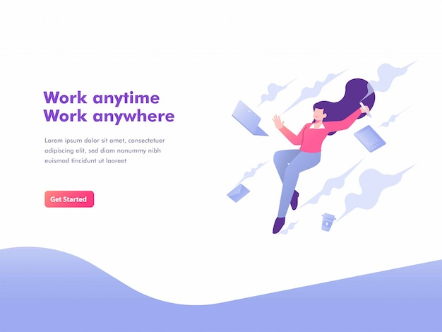 Freelance, flexibility and mobile working concept landing page