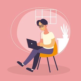 Freelance guy with laptop