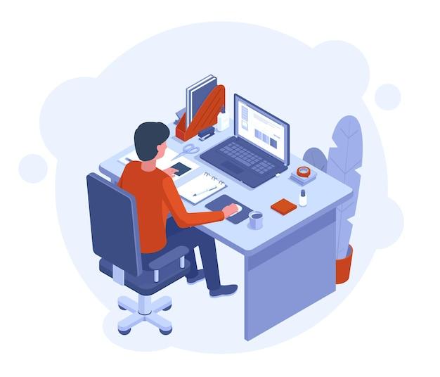 フリーランスのホームオフィス。ラップトップ、デスクトップコンピューターとchancelleryベクトルイラストとワークスペースで働く男性キャラクター。ホームフリーランス労働者