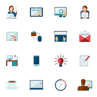 Freelance icon flat set