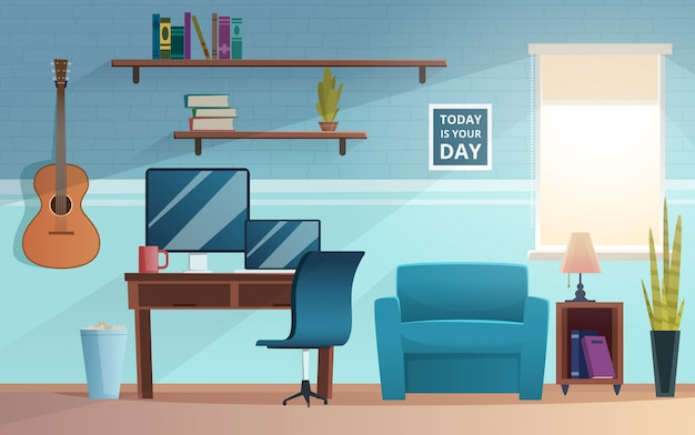 Внештатный интерьер. рабочее место студенческого офиса дома современного внештатного рабочего пространства компьютерный стол диван