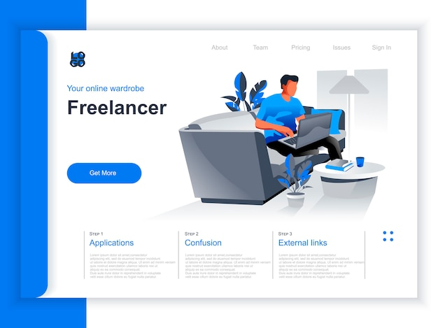 Freelance job isometric landing page. young man working with laptop in comfortable conditions at home office situation. remote work at company and self-employed occupation perspective flat design.