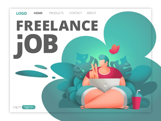 Freelance job web page template. designer male character with laptop sitting in jungle forest