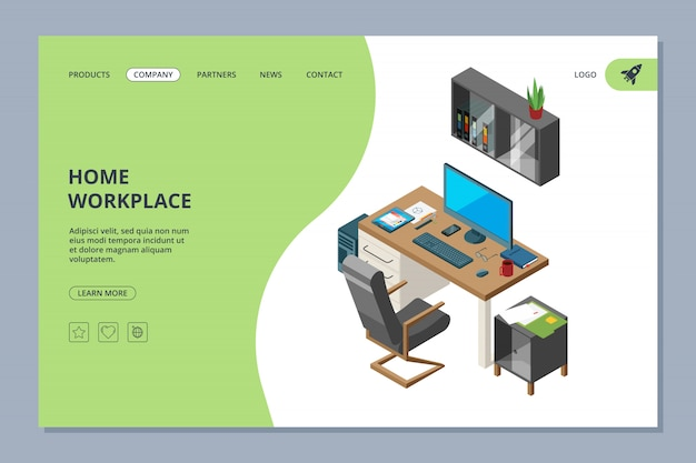 Freelance landing. coworking space for artists and programmers professionals work web page design template