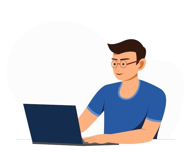 フリーランスの男はオンライン作業で自宅でラップトップで働いています。
