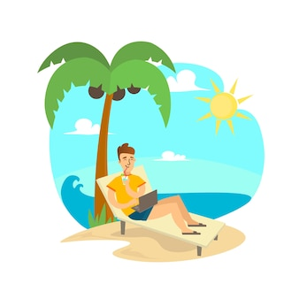 コンピューターとビーチでフリーランスの男。