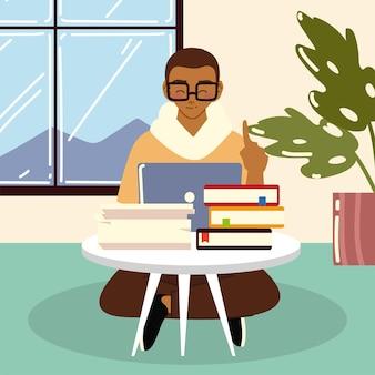 프리랜서 남자가 바닥에 앉아 노트북에서 일하고, 집에서 일하는 그림