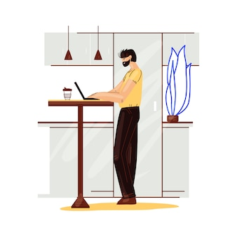 Freelance man work in comfortable cozy home office in kitchen   flat illustration. freelancer man character working from home at relaxed pace, self employed concept
