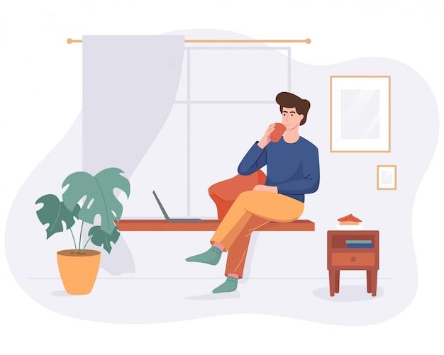 프리랜서 남자 플랫 스타일 화이트 절연 컴퓨터와 창턱에 집 편안한 공간에서 작동합니다. 프리랜서 문자 자영업 개념 온라인 음료 커피 작업.