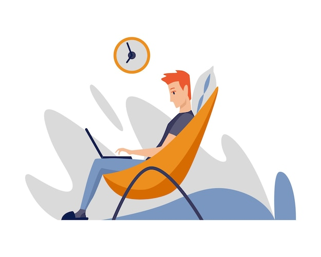 Человек-фрилансер, работающий дома в комфортных условиях. мультипликационный персонаж работает из дома
