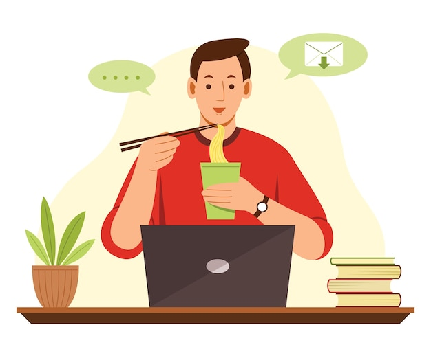 Freelance man working from home with laptop and eating noodle