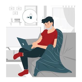 소다 그림에 앉아 의료 마스크 집에서 일하는 프리랜서 남자