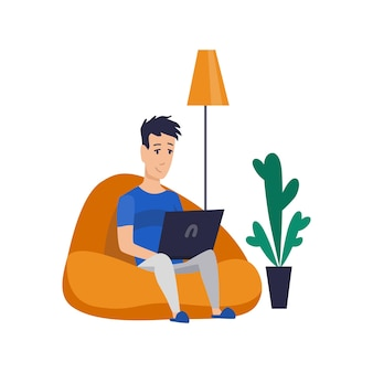 Freelance man working at home in comfortable conditions
