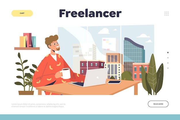 Freelance occupation concept with freelancer man working on laptop