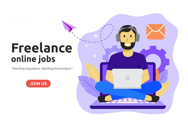 Freelance online job design concept.