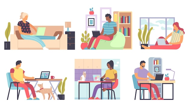 Freelance people, men and women working remotely home on laptops and computers