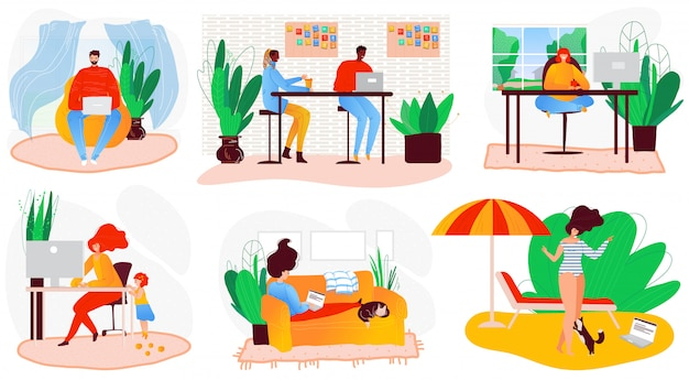 Freelance people self-isolation at home cartoon character  illustration. laptop on sofa remote freelance work, cool job, remote workers labor set.
