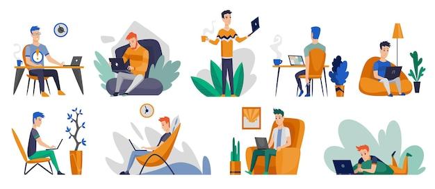 프리랜서 사람들은 편안한 조건에서 집에서 일합니다. 집에서 일하는 만화 캐릭터. 격리 기간 동안 집에서 시간을 보내십시오. 안전한.