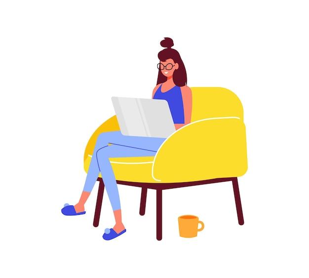 프리랜서 사람들은 노트북이 있는 안락의자에서 일하는 어린 소녀의 캐릭터로 작곡을 합니다.