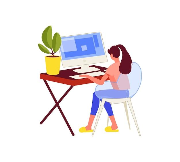프리랜서 사람들은 집에서 일하는 컴퓨터 테이블에 앉아 있는 여성 캐릭터와 함께 작곡을 합니다.