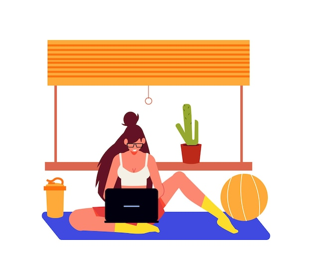 Freelance people work composition with female character sitting on floor with laptop and fitness ball